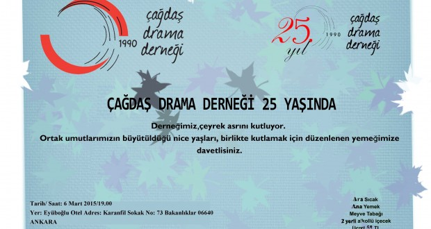 25. YIL YEMEĞİNE DAVETLİSİNİZ!!!