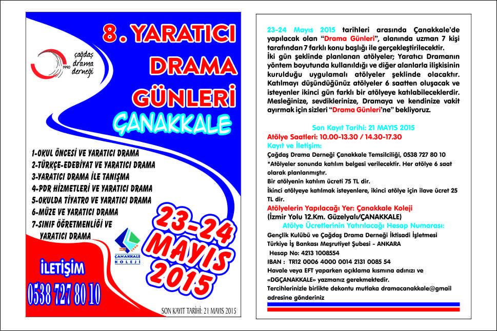 8. Drama Günleri-Çanakkale 23-24 Mayıs'ta!