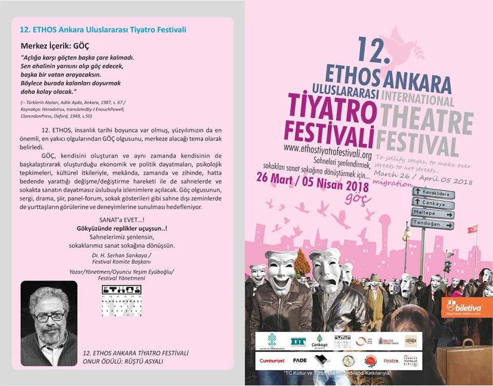 12. Ethos Ankara Tiyatro Festivali broşürü