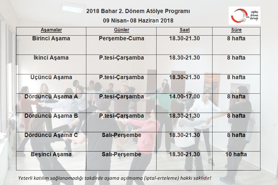 2018 Bahar-2 Dönemi Yaratıcı Drama Eğitmenliği/Liderliği Kursu Kayıtlarımız Başladı!