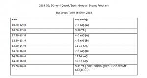 2018 Güz Dönemi Çocuk/Ergen/Özel Eğitim Yaratıcı Drama Kurs takvimi belli oldu!